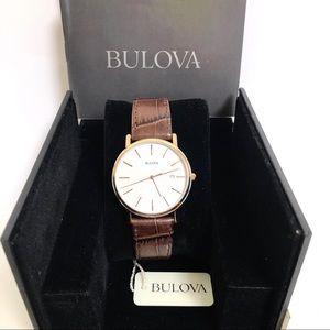 NWT Bulova Men's watch 98H51 Brown Leather Strap